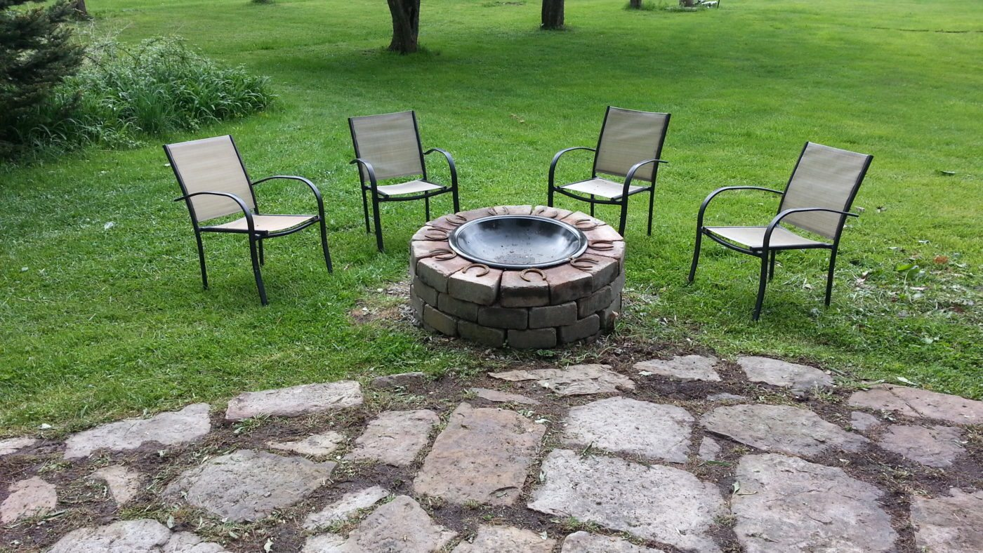 One of two fire pits--this fire pit is located between the house and the pool!