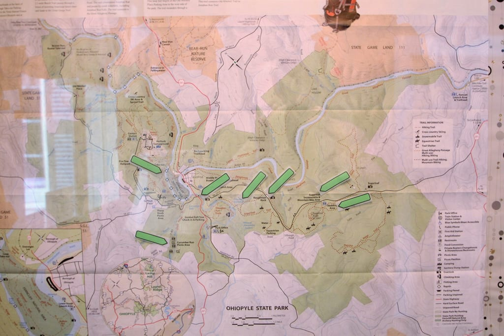 Plan your day's hike with our Ohiopyle State Park Hiking Map! We even note our favorites!