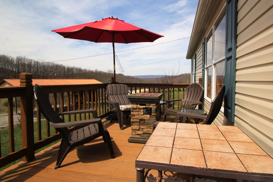 Front deck includes a fire element heater! Warmth, plus ambiance!