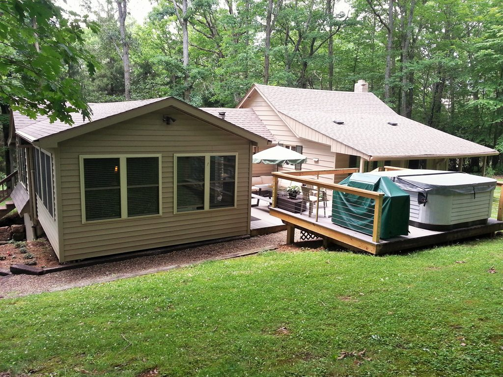 View of Private Decks including Hot Tub/Spa, Grill and Picnic Area.