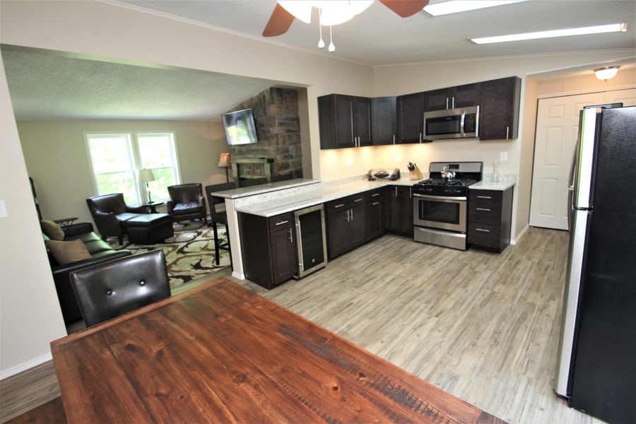Large kitchen, loads of counter space--includes wine frig!!
