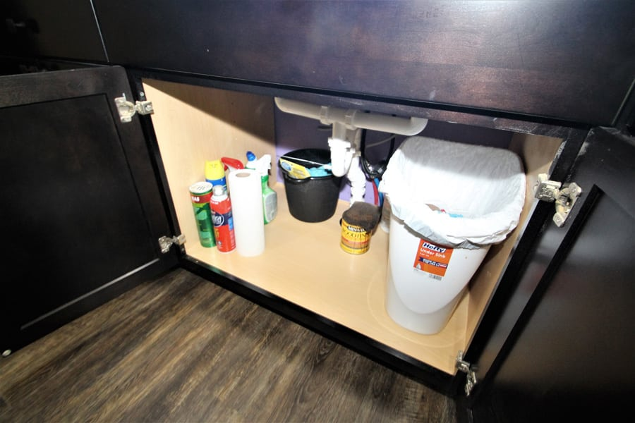 Cleaning supplies and garbage can are located under the sink.