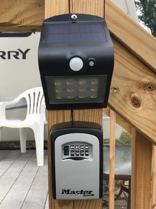 Key Access is located on the front deck post. Note the solar light above the lock box for night time arrival!