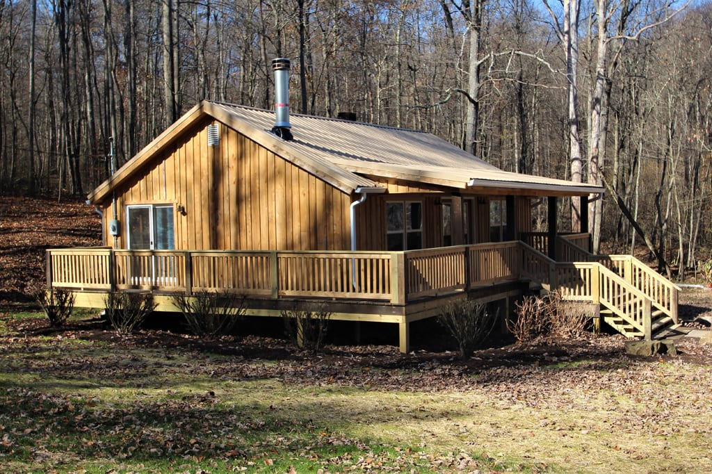 The large wrap around deck is one of the cabin's outstanding features.