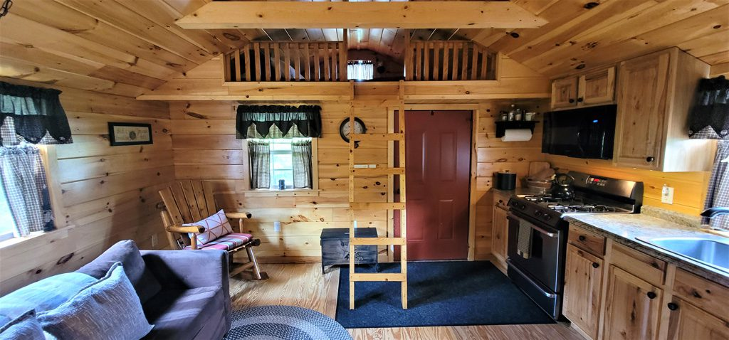 Open floor plan between dining/living room and kitchen!