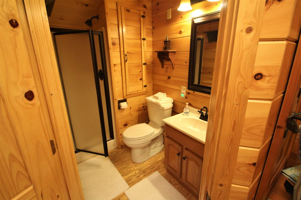 1 bathroom with toilet, vanity and stand up shower!
