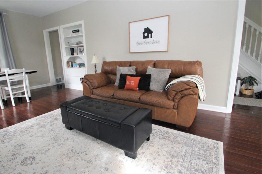 Livingroom with comfy sofa.